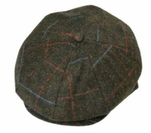 Peaky Blinders Cap Tommy Shelby Newsboy Wool 56-58cm Olive Brown Spiral Check