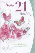 21st Birthday Card - Female Age 21 Dress Butterfly