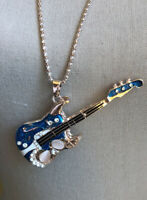 "Betsey Johnson Blue Guitar New With Tag ~Free Shipping~ 29"" Chain"