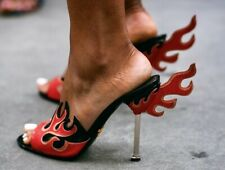 PRADA 2012 Patent Leather Flame Mules Heels