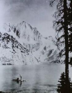 A Snow Fed Lake in the Rockies, Magic Lantern Glass Slide, from a Photograph