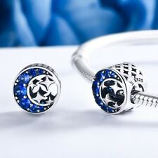 Stunning 925 Silver Blue Moon And Stars Charm With Cubic Zirconia Studs