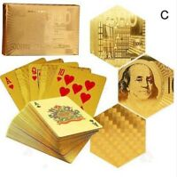 Waterproof 24K Gold Foil Plated Poker 54 Playing Cards Table Games Party Gift C#
