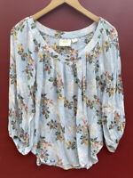 Anthropologie Top XS 0 Maeve Floral Peasant Shirt Blue V Neck Blouse