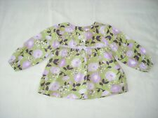 Gymboree baby girls green purple floral long sleeve top 12-18 months