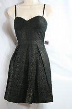 AQUA Black Bustier Strapless Lace Cocktail Dress Sz 4 NWT A-Line Gold Shimmer