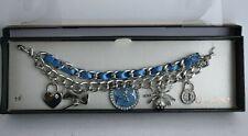 GUESS Silver-Tone Woven Ribbon Pave Charm Bracelet