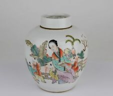 China antique Qianjiang polychrome tea caddy-2 eliza children signed