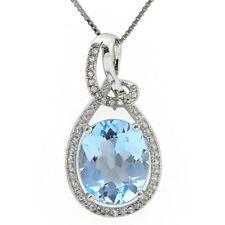 4.12 CTW BABY SWISS BLUE TOPAZ, DIAMOND & WHITE SAPPHIRE 925 S. SILVER PENDANT