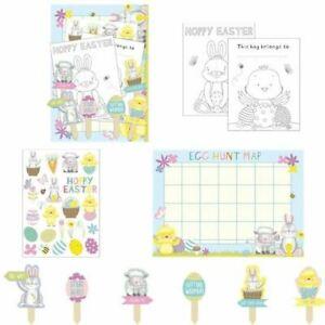Easter Egg Hunt Kit 20 Piece Kids Party Game Pack Stickers Bags Maps Markers Fun