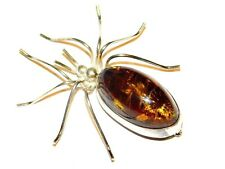 Amber Spider Brooch Pin 14 Grams Solid Sterling Silver 925 Large Lithuanian