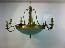 Antique Edwardian Ceiling Light Brass Crystal Chandelier Shade Pendant (PK171)