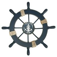 Nautical Wooden Ship Sailboat Boat Steering Wheel Fishing Net Home Decor 11 inch
