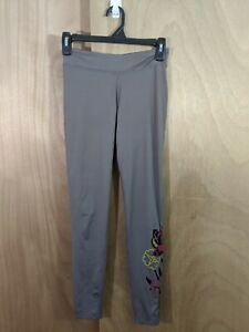 Athleta Womens Size Small Taupe Floral Calf Design Yoga Tights