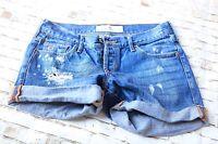 Hollister California Distressed Destroyed Women Junior's Shorts Jean Denim Sz 1