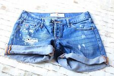 Hollister California Distressed Destroyed Women Junior's Shorts Jean Denim Sz 1