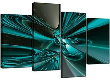 Large Teal Abstract Canvas Wall Art Pictures 130cm Wide Prints XL 4017