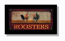 Art Print, Framed or Plaque - Roosters By Artist Billy Jacobs - Farmhouse, Barn