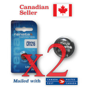 CR1216 x2 NEW! Renata Lithium 3V Coin Button Battery