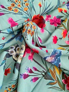 """FLORAL ON TEAL Digitally print VISCOSE dressmaking & sewing fabric 57"""" WIDE"""