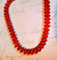 """RED MARQUISE CHOKER NECKLACE 15"""" GOLD TONE PLATE.? Unmarked CORO 1950 VINTAGE"""