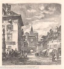 Antique print Gate of Spalen Basel Switzerland / Spalentor holzstich 1879