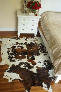 Tricolor Cowhide Rug Authentic Leather Rug with Hair on by Original Cowhide
