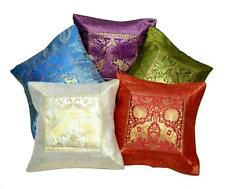 5 Indian Elephant Embroidered Banarasi Brocade USA Silk Pillow Cushion Covers
