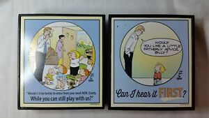 FAMILY CIRCUS LOT OF 2  PLAQUES WOOD TRIMMED BLACK BILL KEANE COMICS APPX6.5 X 6