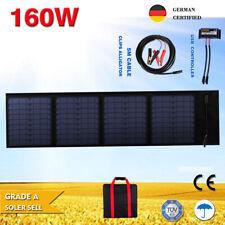 160W 12V Folding Flexible Solar Blanket Solar Panel Kit Camping Charger