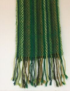 Andes Gifts Alpaca Winter Scarf Woven Emerald Green Tan Brown Unisex Bolivia