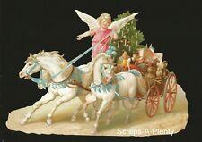 German Embossed Scrap Die Cut- Christmas Angel Horses Sleigh & Toys  BK5126