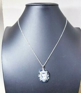 """Luminesse Fine Jewelry Women's Crystal Blue Angel Cameo SS Pendant 18"""" Necklace"""