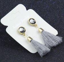 GOLD  ROUND CLEAR CRYSTAL GREY TASSEL EARRINGS LADIES GIFT UK SELLER* GG03