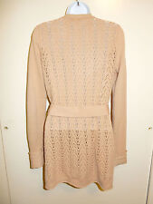 CALYPSO 100% CASHMERE SAND BUTTONS TIE CROCHET BACK LONG CARDIGAN SWEATER XS/S