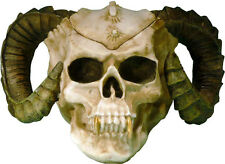XL Demon-Devil Ram Horned Voodoo Human Skull-Life Size Aged Relic, From USA