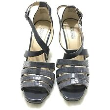 Kenneth Cole Reaction Fish N Chips Strappy Heels Gray Women Size 7M