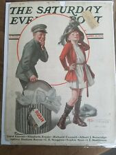 1924 Saturday Evening Post Frederic Stanley art girl hat box cover as is