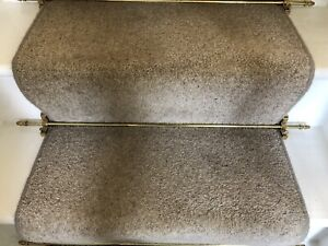 "Brass Carpet Stair Rods And Brackets. Qty 14. 28"" Long."
