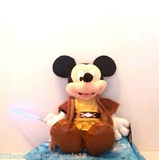 "disney parks star wars jedi mickey mouse saber lights up 12"" plush talks retired"