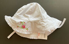 NWT Gymboree Parisian Rose 2T-5T White Ruffle Sun Hat with Chin Strap