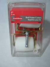 """2"""" White, Bright Brass Bed Frame Casters 28811 Madico Faultless, Set of 2"""