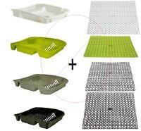 Plastic Large Dish Drainer with Sink Drainage Mat Set Dish Rack Holder Kitchen 2