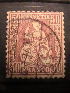 Switzerland stamp 1867; used; 50c purple