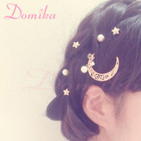 1 Set Lolita Girls Stars Moon Pearl U Shape Bobby Pins Women's Hairpins