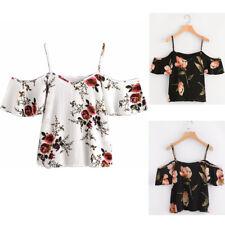 Women Blouse Tops Summer Floral Printed Blouse Cold Off Shoulder T-Shirt Tops