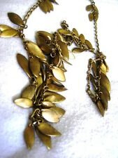 """35"""" Vtge/Antiqued Gold Plated Necklace Belly Dancer Style Leaves on Chain Links"""