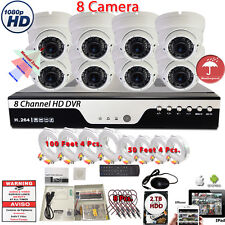 8 Channel HD H.264 DVR 8x 1080P Night Vision Home CCTV Security Camera Set w2TB