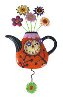 Scratch & Dent Allen Designs Flower-Tea-Ful Teapot Pendulum Wall Clock