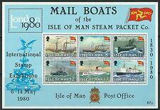 Isle of Man - 150 Jahre Steam Packet Company Block 3 postfrisch 1980 Mi. 166-171
